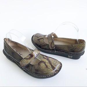 Alegria Feliz Olive Snake Patent Leather Mary Jane